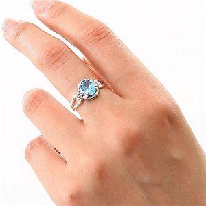 ブルートパーズ・ダイヤリング 指輪  シルバーリング B0024  11号