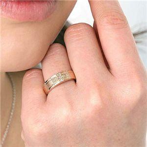 ダイヤリング 指輪 クロスリング ピンク I8405  11号