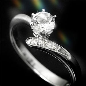 ホワイトトパーズ&ダイヤリング 指輪 3P姫リング 15号 - 拡大画像