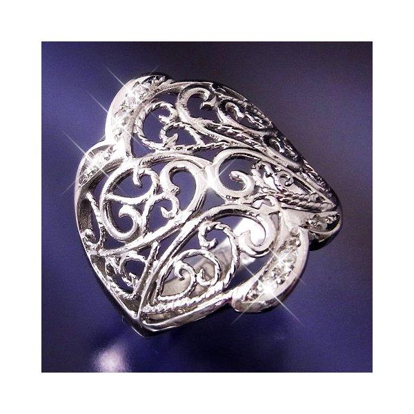透かし彫りダイヤリング 指輪 15号f00