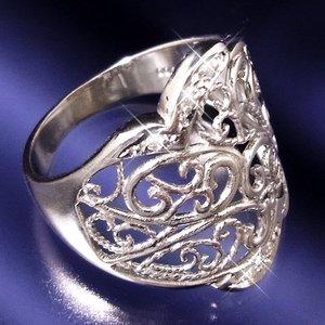 透かし彫りダイヤリング 指輪 15号 h03