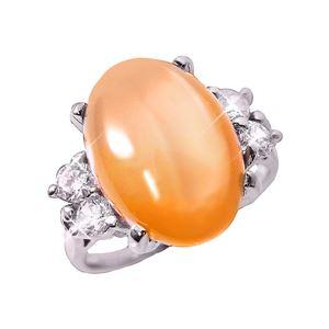 オレンジムーンストーンリング 15号 h01
