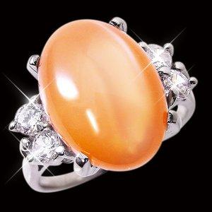 オレンジムーンストーンリング 15号 h02