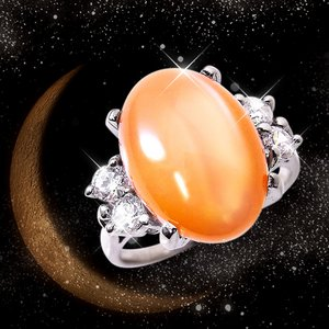 オレンジムーンストーンリング 15号 h03