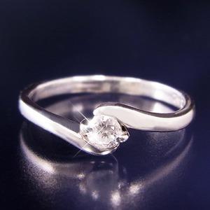 ダイヤリング 指輪Sラインリング 17号 h03