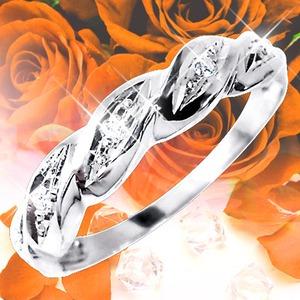 ダイヤリング 指輪ツイストリング 17号 h03