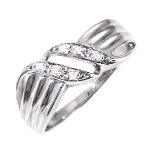 ダイヤリング 指輪ウェーブデザインリング 17号 h01