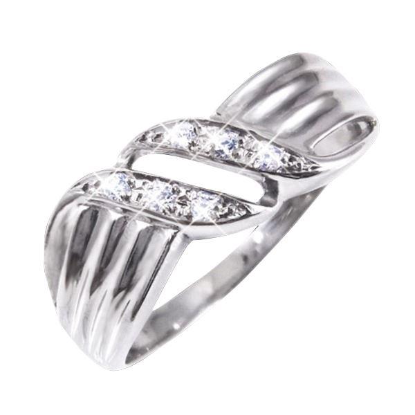 ダイヤリング 指輪ウェーブデザインリング 17号f00
