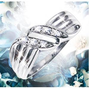 ダイヤリング 指輪ウェーブデザインリング 17号 h02