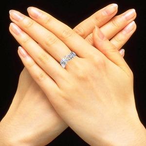 ダイヤリング 指輪ウェーブデザインリング 17号 h03