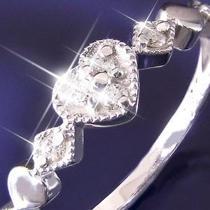 ハートダイヤリング 指輪 セブンストーンリング 7号 h02