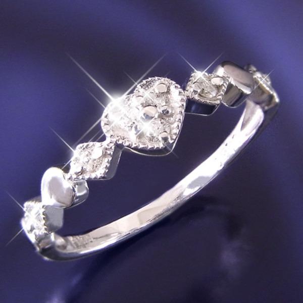 ハートダイヤリング 指輪 セブンストーンリング 15号f00