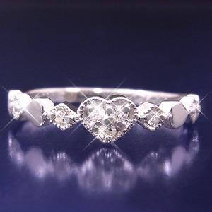ハートダイヤリング 指輪 セブンストーンリング 15号 h03