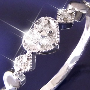 ハートダイヤリング 指輪 セブンストーンリング 17号 h02
