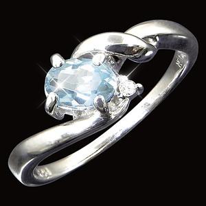 アクアマリン&ダイヤリング 指輪 9号 h02