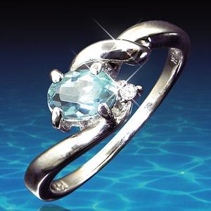 アクアマリン&ダイヤリング 指輪 9号 h03