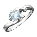 アクアマリン&ダイヤリング 指輪 17号