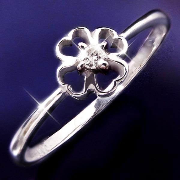 ダイヤリング 指輪クローバーリング 15号f00