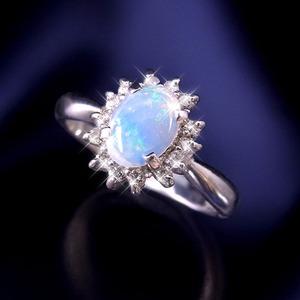 大粒オパール&ダイヤリング 指輪 15号 h02