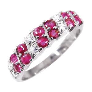 ルビー&ダイヤリング 指輪 ダブルエタニティーリング 25号 h01