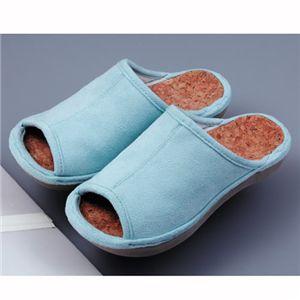 足の疲れに 快適コルクインソールスリッパ(ブルー2足セット)約22〜24cm用 - 拡大画像