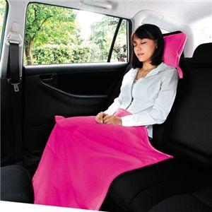 ポータブルおやすみセット(フリースブランケット 枕付き)ピンク - 拡大画像