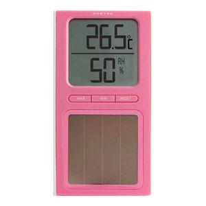 ドリテック ソーラー温湿度計 O-223 ピンク - 拡大画像