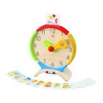 1日の活動を描いたカードを時計の上に置き、子供と対話しながら場面に合った時間に時計を合わせる使い方が可能です(^u^)
