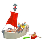 海賊船 フネの後ろには舷門があり、開閉して倉庫に貨物を入れたりできます(^O^)/大砲、樽、帆、ボートなどが付属しています♪