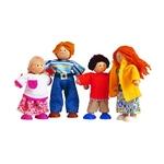 モダンドールファミリー 4体のおしゃれなドールファミリーです(^O^)/ 木製の、手足が自由に動かせる人形たちです(*^^)v一番大きなお父さんで13cmで〜す(^O^)/