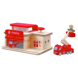 ★PLAN TOYSの木製玩具(木のおもちゃ)★6084★ 消防署