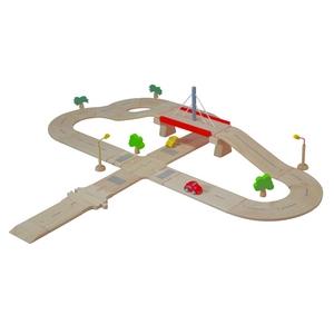 ★PLAN TOYSの木製玩具★6078★ ロードシステム デラックス