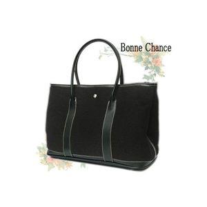 ♪最高級品質BonneChanceおしゃれなキャンバス地トートバッグ黒 - 拡大画像