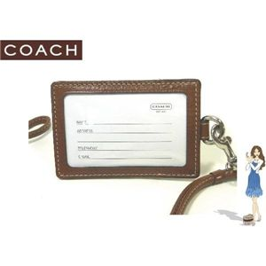 COACH(コーチ) IDカードネックストラップ シグネチャー ランヤード ブラウン 60357 - 拡大画像