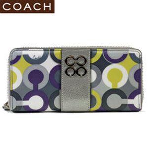 【新作モデル2010】COACH(コーチ) ジュリア スカーフプリント 43852 アラウンド長財布 ライラックマルチカラー