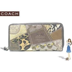 d306d16e1595 Coach(コーチ) アコーディオン ジップ アラウンド長財布 パッチワーク マルチカラー 42002 画像1