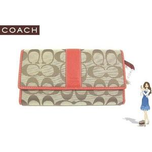 80d644f4cf7b Coach(コーチ) 3つ折り長財布 シグネチャー チェックブック オレンジ 41878 画像1
