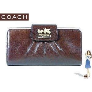 【訳あり】Coach(コーチ) スリム エンベロープ財布 マディソン レザー ダークブラウン 41975