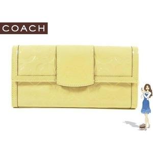 【訳あり】Coach(コーチ) スリム エンベロープ 長財布 ペネロピ エンボスド ベージュ 42426