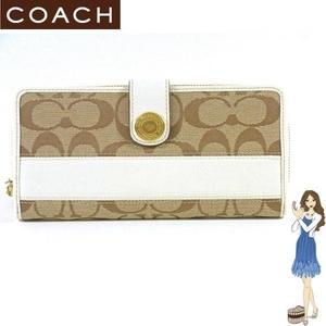 【訳あり】Coach(コーチ) アコーディオン ジップ アラウンド 長財布 シグネチャー ストライプ ホワイト 41631