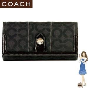 Coach(コーチ) 3つ折り長財布 トライベッカ オプアート チェックブック ブラック 43127
