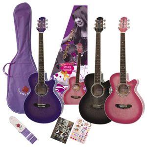 可愛いGYPSYROSE(ジプシーローズ) アコースティックギターセット GRA1K シャンパンピンク