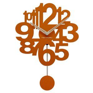 振り子がゆらゆら♪デザイン振り子時計 TF-1164 オレンジ