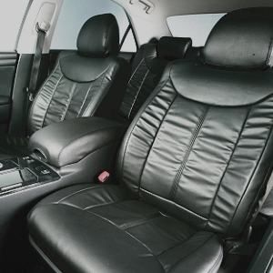 Dohm製 本革調シートカバー VIPモデル グロリア・セドリック用 【N312】 セダン ブラック 1台分 - 拡大画像