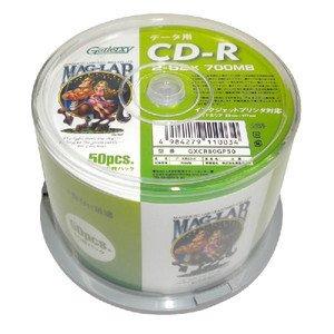 データ用CD-Rメディア52倍速 レーベル ワイドタイプ プリンタブル白50枚スピンドルGXCR80GP50