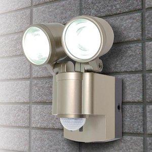 【防犯グッズ】LED×2灯・ELPA 防雨センサーライト(単3形乾電池×4本) ESL-302BT