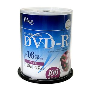 VENUS  DVD-R16倍速100枚スピンドル5個セット   VR47-16X100PWX5P