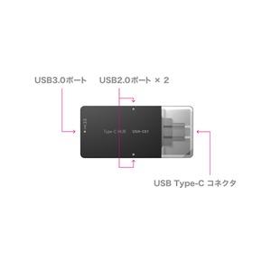 ミヨシ (MCO) USB-C対応 3ポートUSBハブ 直挿しタイプ USH-C01/BK ブラック画像2
