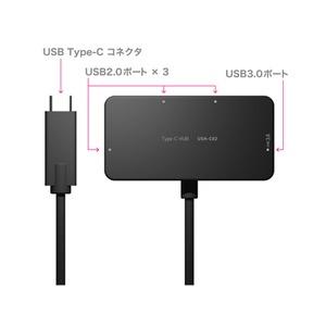 ミヨシ (MCO) USB-C対応 4ポートUSBハブ ケーブル一体型タイプ USH-C02/BK ブラック画像2