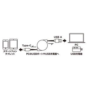 ミヨシ(MCO) USB Type-C ケーブル コードリールタイプ SCC-R2012/BK